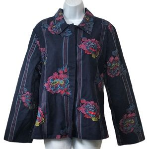 Hearts of Palm Floral Embroidered Button Up Jacket